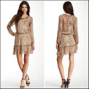Ella Moss Lynx Long Sleeve Silk Blend Dress